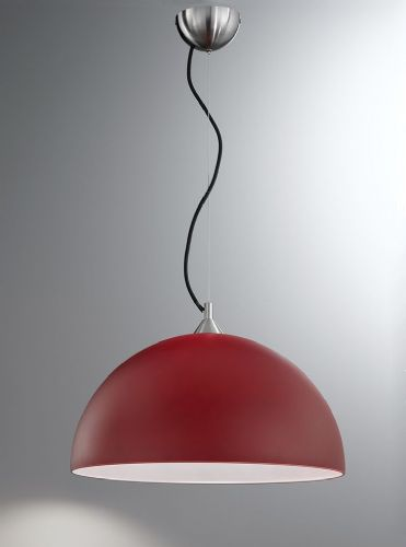 Franklite FL2291/1/935 Satin Nickel & Red Pendant Light